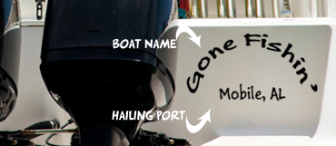 Here is a boat name and hailport decal